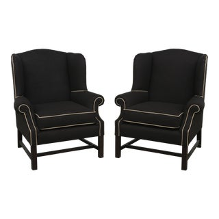 Modern Brown Fabric & Piping Detail Custom Made Winged Back Chairs- A Pair For Sale