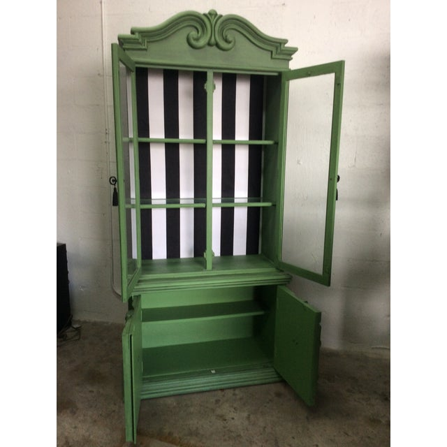 20th Century Chinoiserie Emerald Green Hutch For Sale - Image 12 of 13
