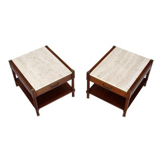 1970s Mid-Century Modern Travertine Tops One Drawer Oiled Walnut End Tables - a Pair For Sale
