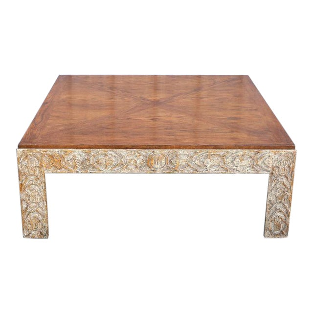 Parquetry Top Painted Square Coffee Table For Sale