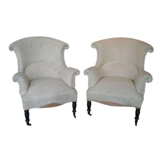 19th Century Pair of Scrolled Back, Napoleon III Armchairs