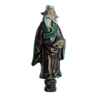 Chinese Figural Lamp Finial on Bronze Hardware For Sale