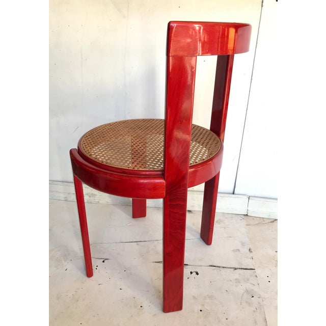 Red Vintage Italian Dining Chairs in the Manner of Scarpa For Sale - Image 8 of 12