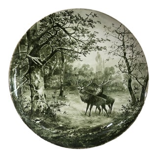 Large Antique Transferware Round Platter Deer Stag For Sale
