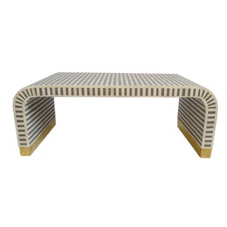 Inlay Striped Waterfall Coffee Table For Sale