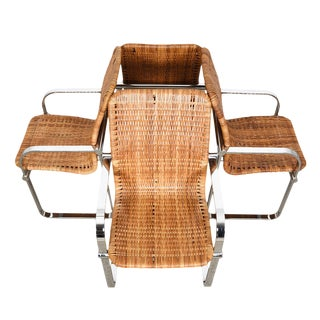 Danish Modern Chrome & Rattan Chairs - Set of 4 For Sale