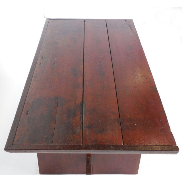 Rustic Coffee Table with Leather Bottom Drawer - Image 7 of 8