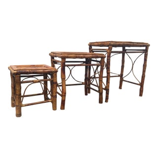 1960s Boho Chic Lacquered Tortoise Shell Bamboo Rattan Nesting Tables - Set of 3 For Sale