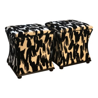 White and Black Velvet Flocked Storage Ottomans - a Pair For Sale