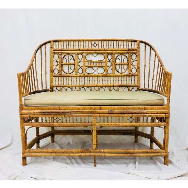 Stunning Vintage Chinese Chippendale Scorched Bamboo Stick, Rattan & Cane Seat Settee Sofa. Lots of delicate twists and...