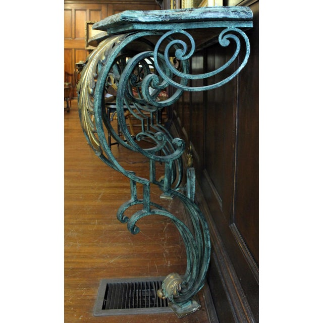 Rococo Scrolled Iron Marble Top Console Table For Sale - Image 3 of 8