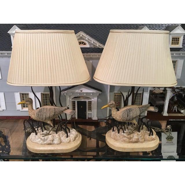 Maitland Smith Designer Heron Bird Lamps - a Pair - Image 2 of 5