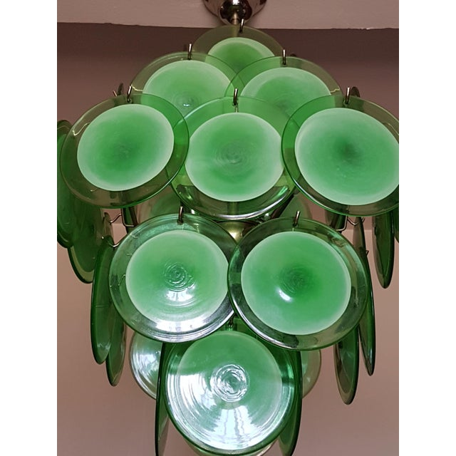 Metal Mid-Century Modern Green Disc Murano Chandelier by Vistosi For Sale - Image 7 of 9