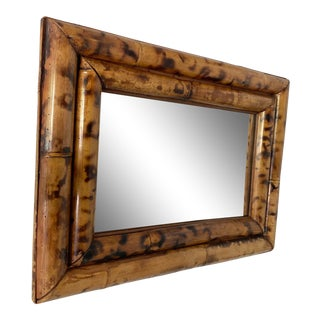 Vintage Thick Burnt Bamboo Mirror For Sale