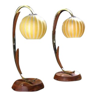 Pair of Walnut Brass and Glass Globes Shades Mid-Century Table Lamps For Sale