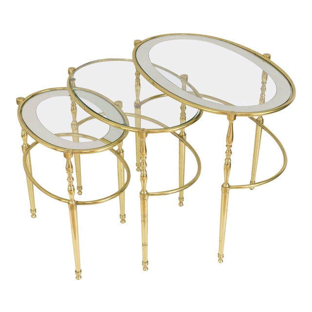 Interesting Oval Brass Nesting Tables, Circa 1940 - Image 1 of 8