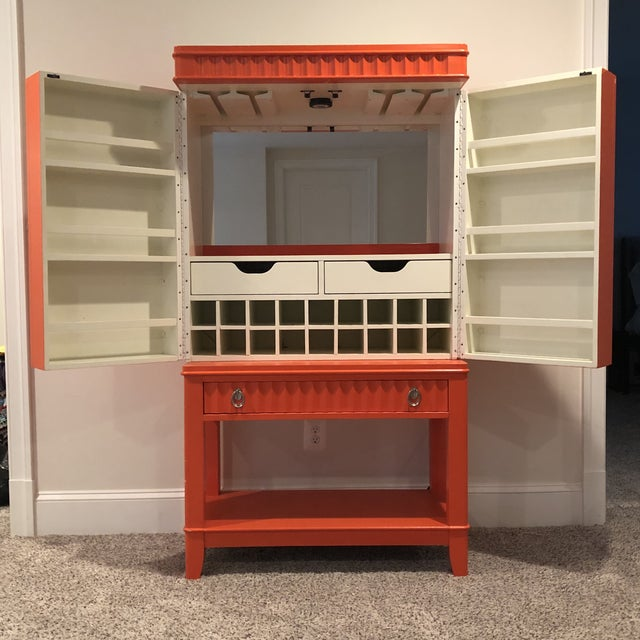 1950s Art Deco Orange Painted Bar Cabinet For Sale - Image 5 of 13