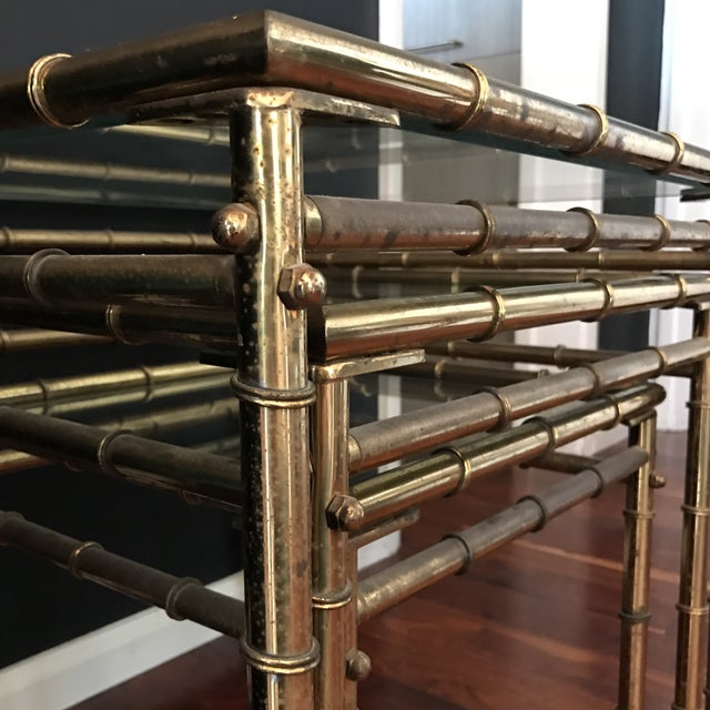 Vintage Faux Bamboo Brass Nesting Tables - Set of 3 - Image 9 of 9