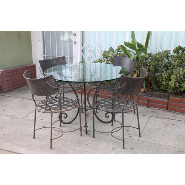 Italian Wrought Iron Dining Set For Sale - Image 4 of 11