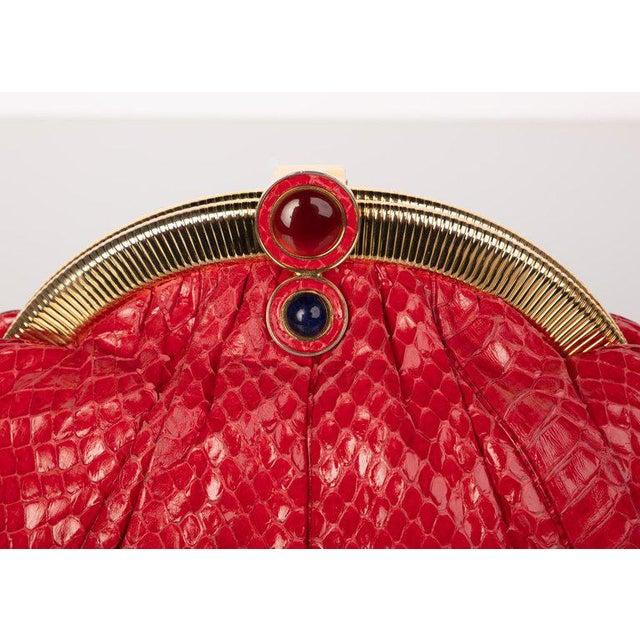 1970s Vintage Judith Leiber Red Snake Skin Clutch Bag For Sale - Image 5 of 7