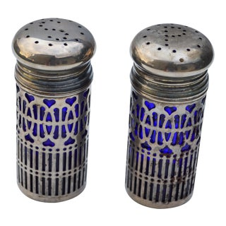 Blue Glass Salt & Pepper Shakers For Sale