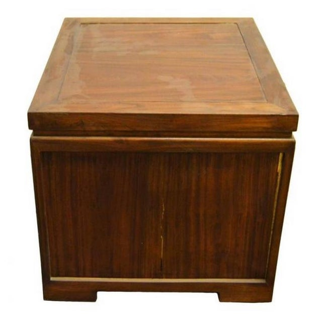 Lacquer Antique Chinese Brown Lacquered Bedside Cabinet with Brass  Hardware, circa 1900 For Sale - - Sophisticated Antique Chinese Brown Lacquered Bedside Cabinet With