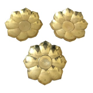 Brass Lotus Bowls - Set of 3 For Sale