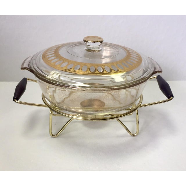 1960s Anchor Hocking Casserole Dish With Candle Warmer & Walnut Handle Caddy For Sale - Image 11 of 12