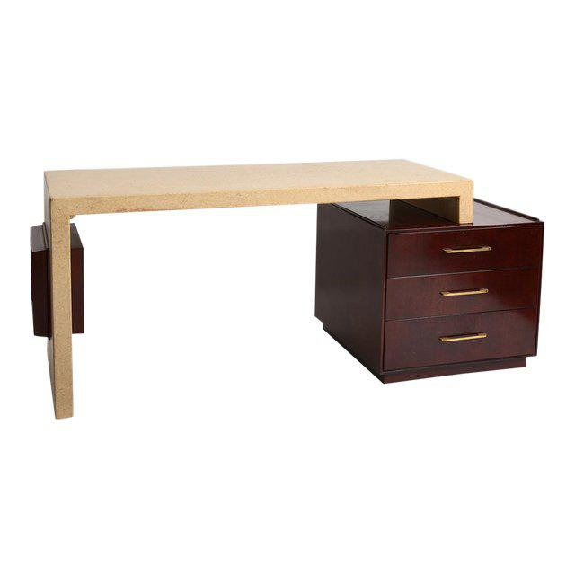 Gold Paul Frankl Cork and Mahogany Desk for Johnson Furniture 1950s For Sale - Image 8 of 8