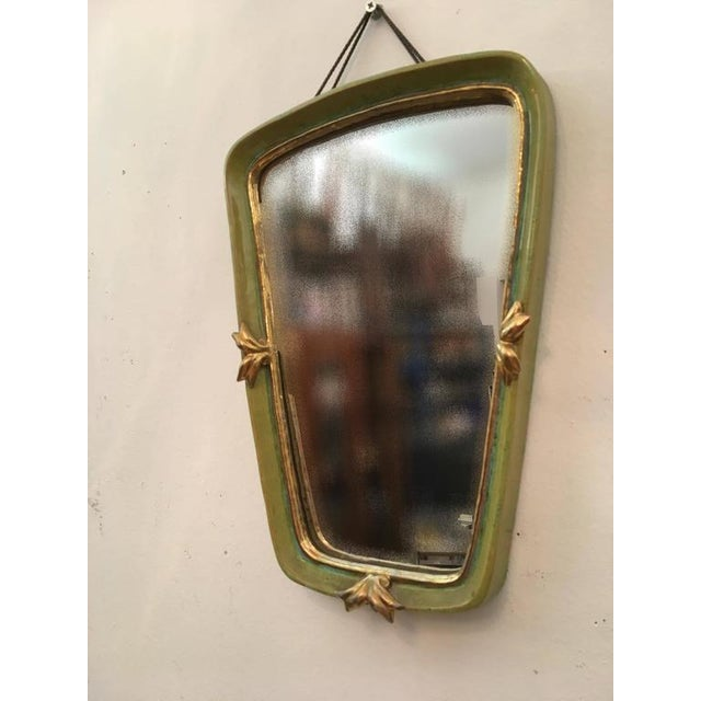 Vintage Art Deco ceramic wall mirror by Gmundner Keramik For Sale - Image 4 of 6