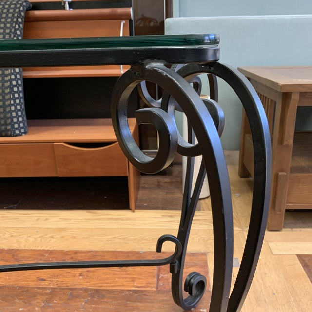Italian Style Wrought Iron Scroll Base + Glass Console For Sale In San Francisco - Image 6 of 8