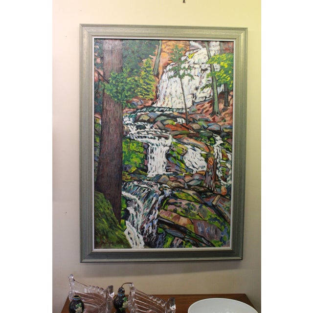 Early 20th Century Early 20th Century Antique Ede Else Waterfall Painting For Sale - Image 5 of 5