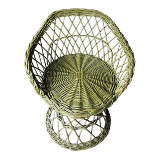 Children's Bohemian Green Wicker Peacock Chair