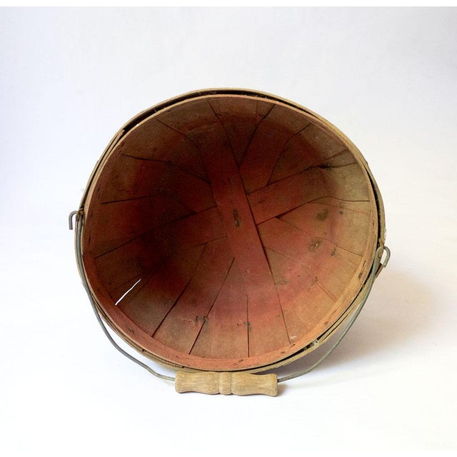 Americana Vintage Wood Slat Apple Basket For Sale - Image 3 of 7