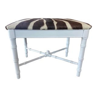 Zebra Hide Faux Bamboo Stool For Sale