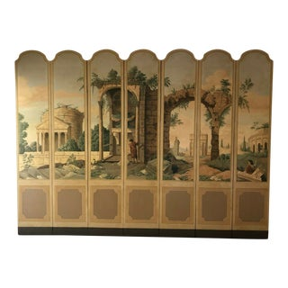 7-Panel French Painted Screen Grand Tour Ruins Neoclassical Scenes C1950 Huge For Sale