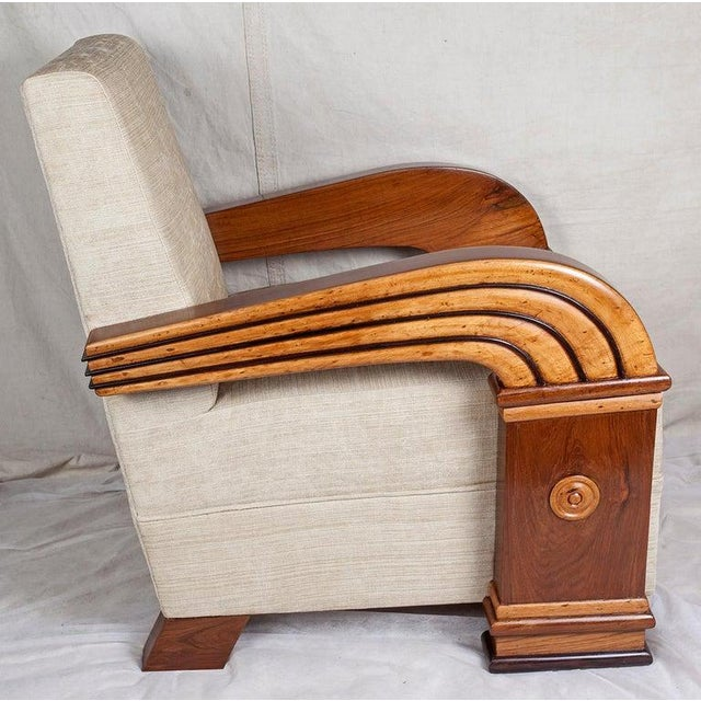 Wood Art Deco Upholstered Teak Loveseat & Chairs Living Room Set - 3 Pc. For Sale - Image 7 of 11