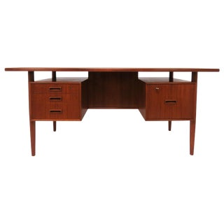 Danish Teak Executive Desk, Circa 1960s For Sale