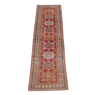 "Contemporary Multi Color Wool Runner Rug - 9'9"" x 2'7"""