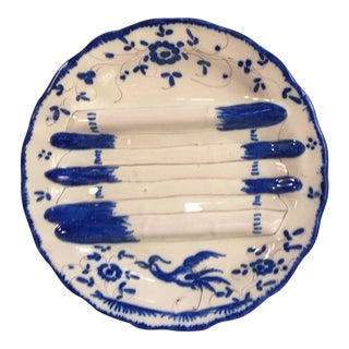 French Faience Blue and White Asparagus Plate, circa 1920 For Sale