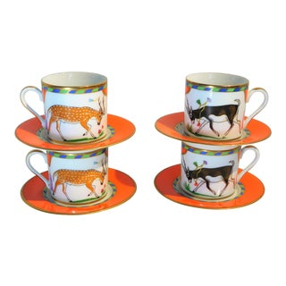 "Lynn Chase ""Tiger Raj"" Porcelain Demitasse Cups and Saucers With 24k Gold Trim, 1991 - Set of 4 For Sale"