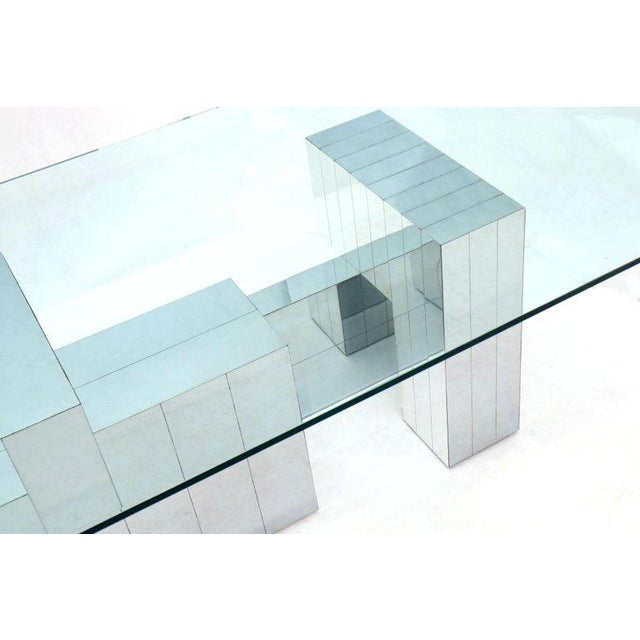 Mid-Century Modern Paul Evans for Directional Large Chrome Glass Top Dining Conference Table For Sale - Image 3 of 13