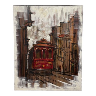 1960s Cityscape With Cable Car Oil Painting on Canvas by Lee Reynolds For Sale