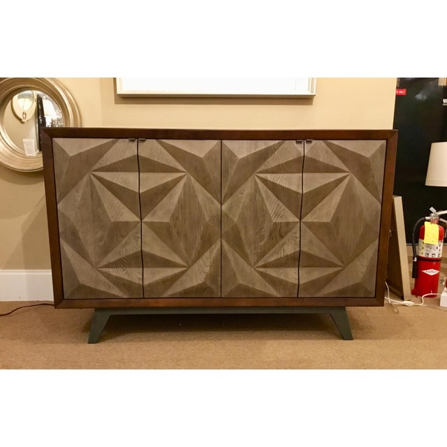 Brown Modern Wood Raised Door Cabinet For Sale - Image 8 of 8