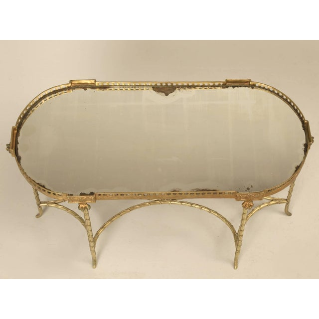 French Bronze Bamboo Style Coffee Table Attributed to Bagues For Sale - Image 9 of 9
