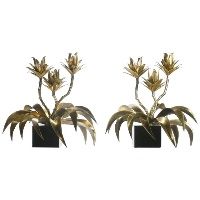 1970s Maison Jansen Hollywood Regency Brass Flower Lamps - a Pair For Sale - Image 9 of 9