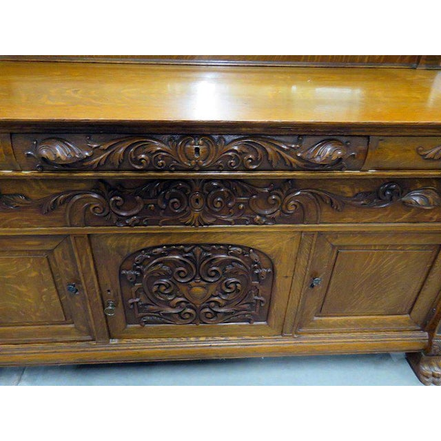 Glass Renaissance Style Sideboard With Superstructure For Sale - Image 7 of 11
