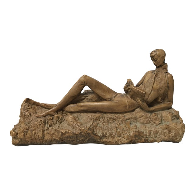 Clay Reading Boy Sculpture - Image 1 of 6