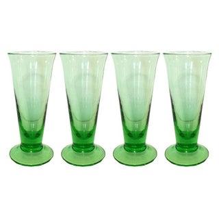 Vintage Green Colored-Glass Shot Glasses - Set of 4