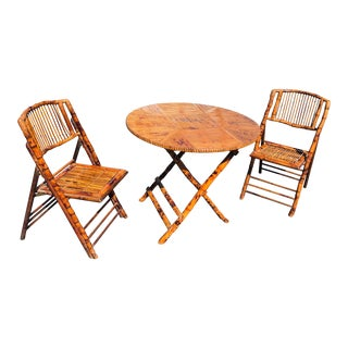 Vintage Burnt Tortoiseshell Bamboo Folding Table & 2 Chairs For Sale
